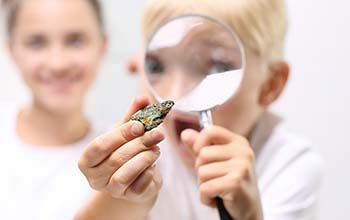 Boy looking at rock through a magnifying glass